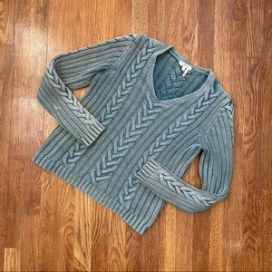 Tyler Boe Cable Knit Vneck Sweater